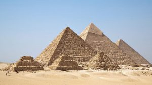 Giza Pyramids in the middle of the desert